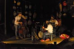 Trio av musiker som spelar jazz Royaltyfria Foton