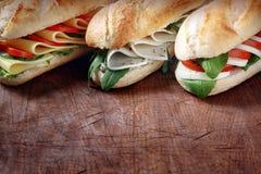 Trio av smakliga vegetariska bagetter Arkivfoto