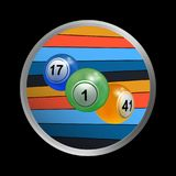 Trio of bingo lottery balls on striped border Royalty Free Stock Images