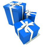Trio of blue and white gift boxes Stock Image