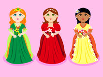 Trio of cartoon princesses Stock Photography