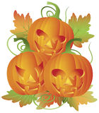 Trio of Carved Halloween Pumpkins Illustration. Happy Halloween Trio of Carved Pumpkins with Leaves and Twine Illustration Stock Photography
