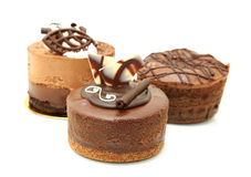 Trio Of Chocolate Tarts Stock Photography