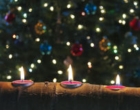 A Trio of Christmas Candles in an Aspen Log Royalty Free Stock Images