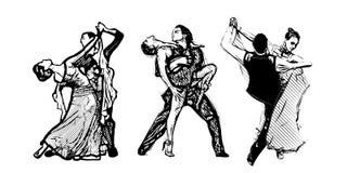 Trio classique de danseurs Photo stock