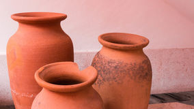 Trio Clay Pots Royaltyfria Bilder