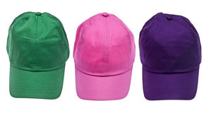 Trio of Colorful Baseball Caps Royalty Free Stock Photography