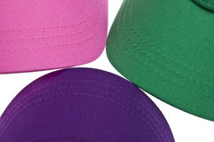 Trio of Colorful Baseball Caps Background. Stock Image