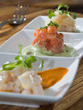 Trio crudo tasting Royalty Free Stock Photos