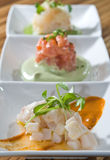 Trio crudo tasting Royalty Free Stock Photography