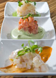 Trio crudo tasting Stock Photo