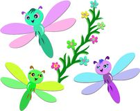 Trio of Cute Dragonflies Royalty Free Stock Photos