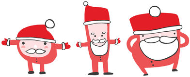 Trio of Cute Funny Santas Stock Photography