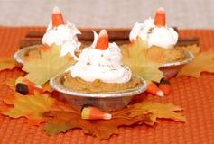 Trio da torta de abóbora mini Fotos de Stock Royalty Free