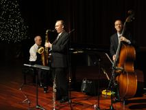 Trio de bande de jazz de Trifecta Images libres de droits