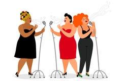 Trio de cantores internacionais ilustração do vetor