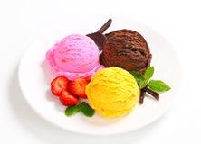 Trio de crème glacée  Image libre de droits