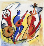 Trio de jazz jouant la composition en jazz sur l'étape illustration libre de droits