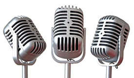 Trio de microfones do vintage fotos de stock