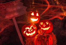 Trio de potiron de Halloween Photo stock