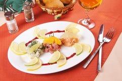 Trio de Tartarus - nourriture de poissons crus Photos stock