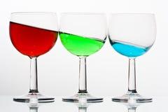 Trio de vidros de vinho Fotografia de Stock