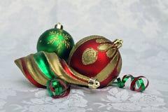 Trio degli ornamenti di natale Fotografie Stock Libere da Diritti