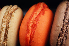 Trio of delicious macaroons Stock Photos