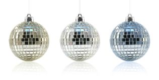Trio dell'ornamento della sfera della discoteca Fotografie Stock