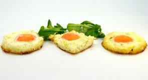 Trio dell'uovo sul piatto Immagine Stock