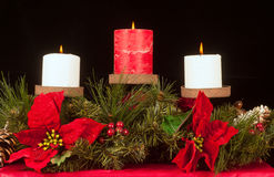 Trio della candela di natale Fotografia Stock