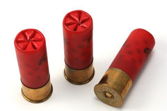 Trio delle cartucce per fucili a canna liscia Fotografie Stock