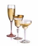 Trio der verschiedenen Champagnergläser Lizenzfreies Stockbild