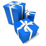 Trio des cadres de cadeau bleus et blancs Image stock