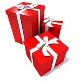 Trio des cadres de cadeau rouges et blancs Photos stock