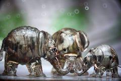 Trio des figurines en verre d'éléphant Photographie stock