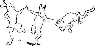 Trio des lapins heureux Photographie stock libre de droits