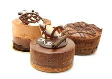 Trio des tartes de chocolat Photographie stock