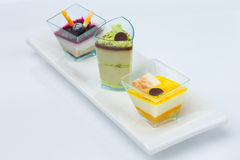Trio of deserts Stock Photography