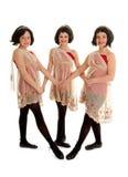 Trio di ballo dell'Irlandese del Preteen in parrucche Immagini Stock Libere da Diritti
