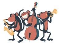 Trio di jazz della scimmia Immagini Stock