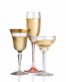 Trio of different champagne glasses Royalty Free Stock Photo
