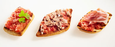 Trio of different tostada toppings Stock Images