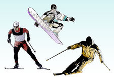 Trio do esqui da cor Foto de Stock