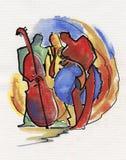 Trio do jazz que joga a composição do jazz na fase Fotografia de Stock Royalty Free
