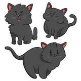 Trio dos gatos pretos Ilustração Stock