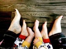 Trio dos pés foto de stock