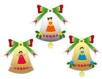 Trio dos sinos de Natal isolados Imagem de Stock