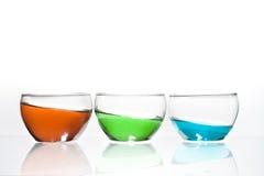 Trio dos vidros com líquido Imagem de Stock Royalty Free