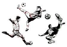 Trio du football Photos stock